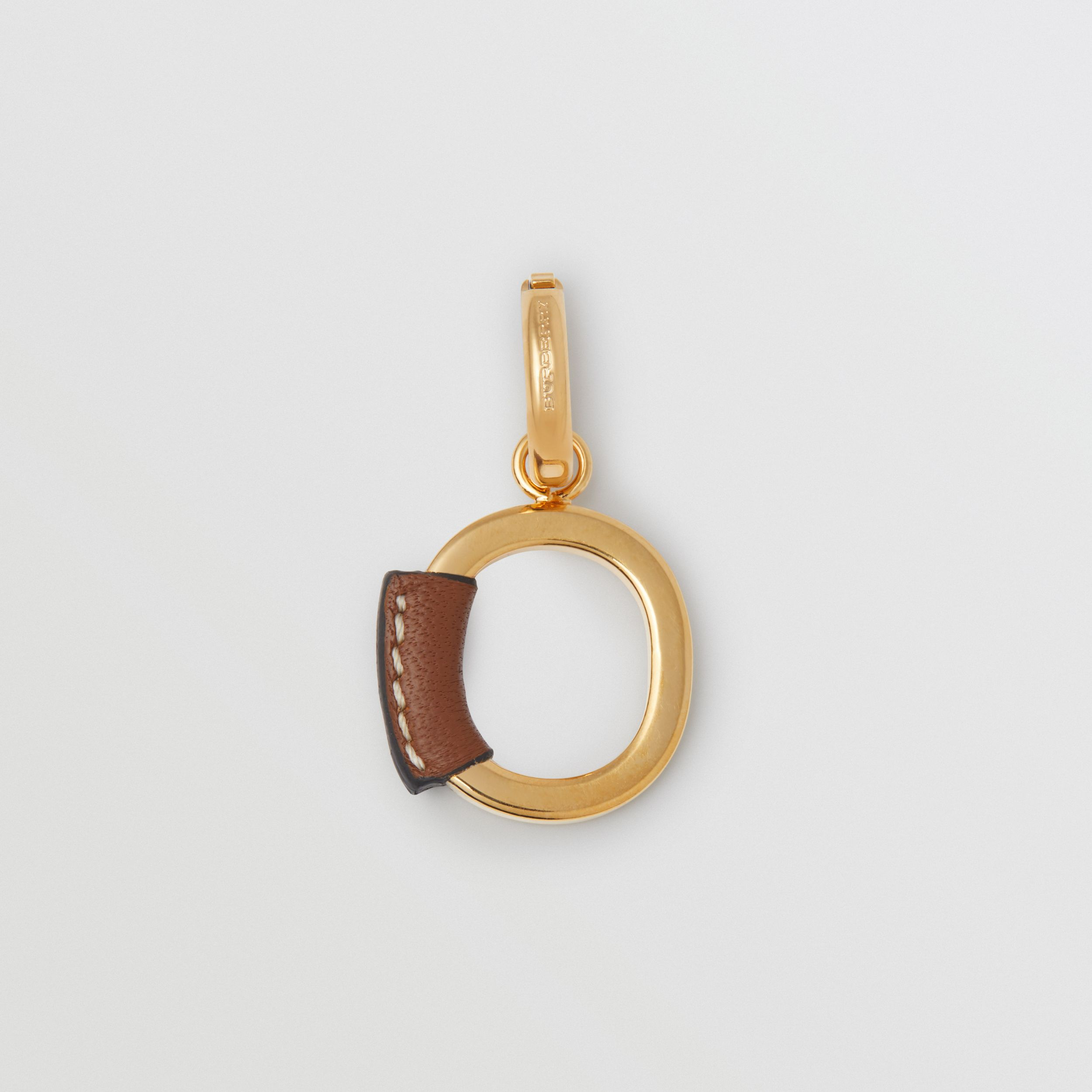 Leather-wrapped 'O' Alphabet Charm in Light Gold/tan - Women | Burberry - 1
