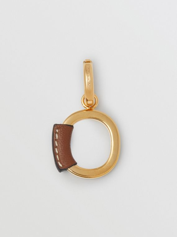 Leather-wrapped 'O' Alphabet Charm in Light Gold/tan