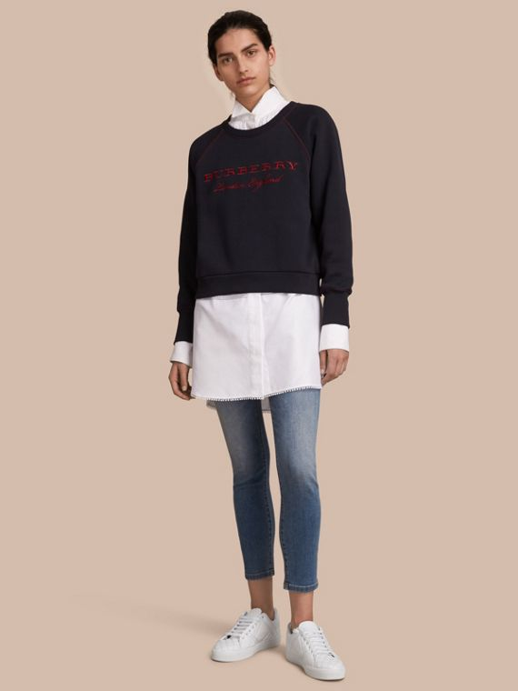 Embroidered Cotton Blend Jersey Sweatshirt in Navy - Women | Burberry