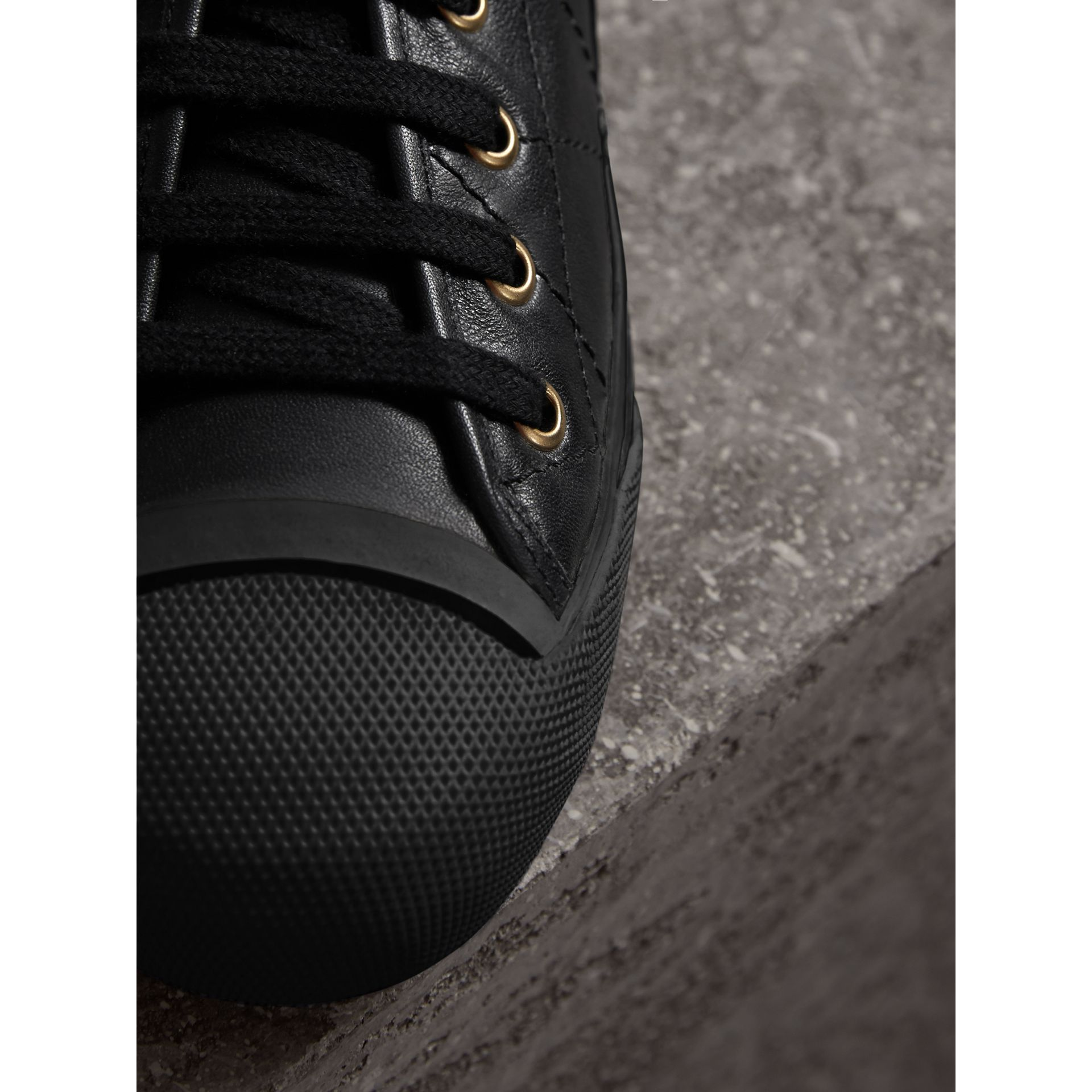 Topstitched Leather Trainers in Black - Men | Burberry - gallery image 2