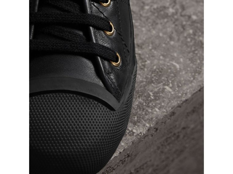 Topstitched Leather Trainers in Black - Men | Burberry - cell image 1