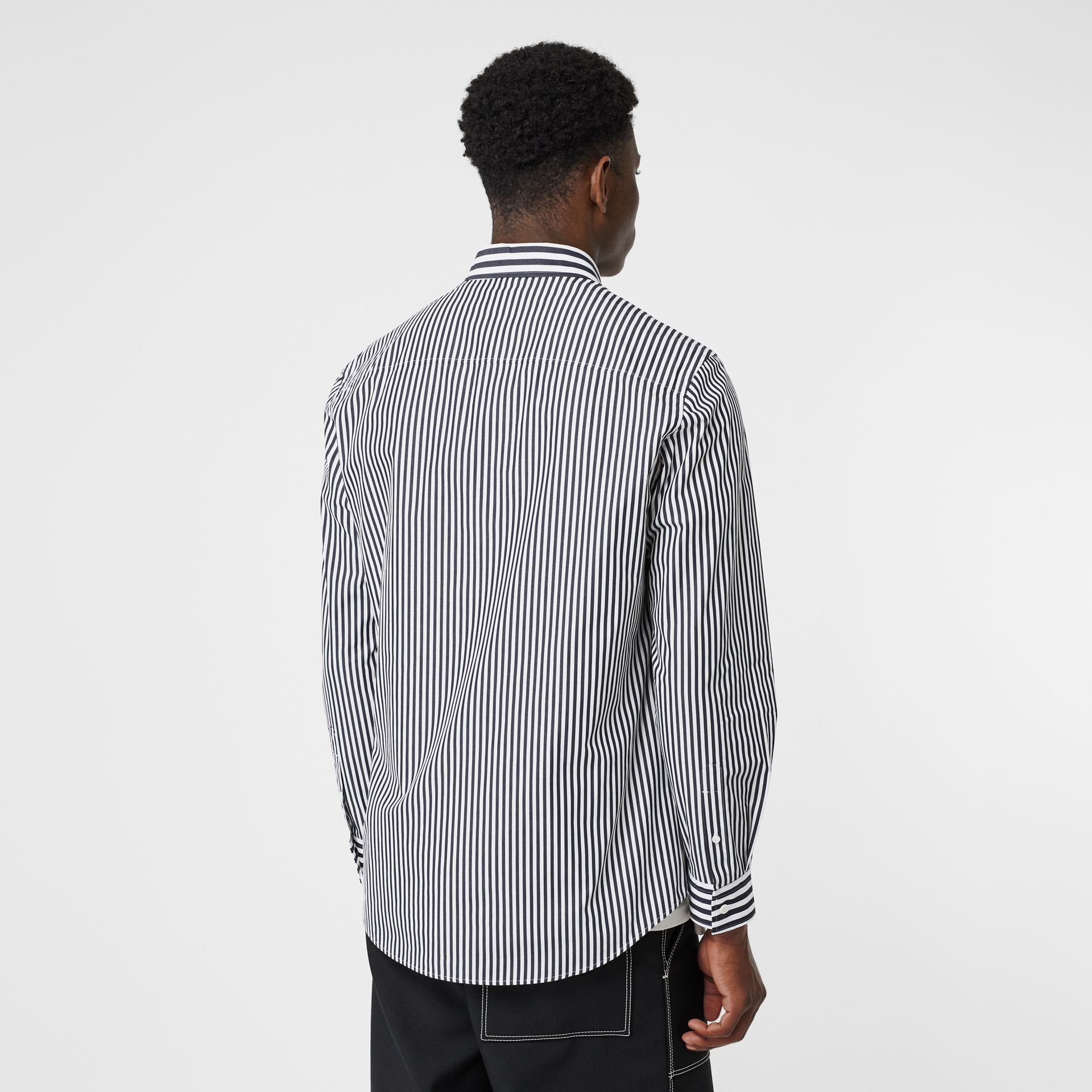 Logo Detail Contrast Stripe Cotton Shirt in Navy - Men | Burberry - gallery image 2
