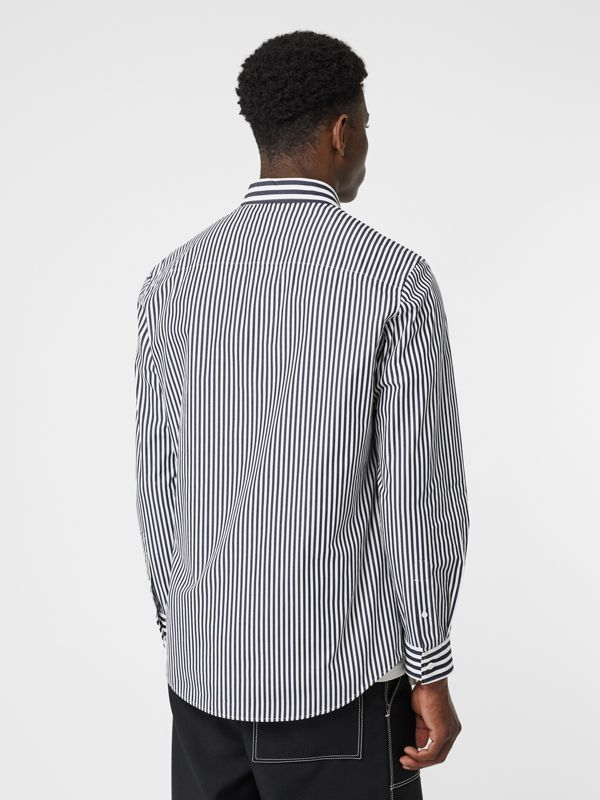Logo Detail Contrast Stripe Cotton Shirt in Navy - Men | Burberry United Kingdom - cell image 2