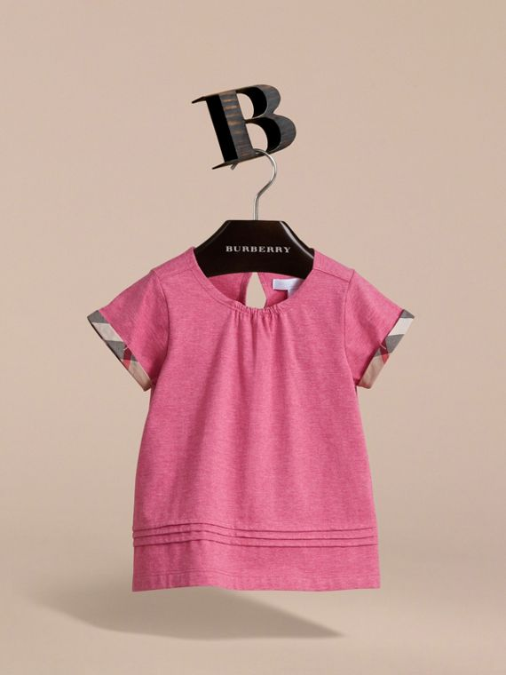 Pleat and Check Detail Cotton T-shirt in Plum Pink Melange - Girl | Burberry Hong Kong - cell image 2