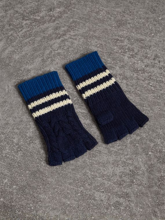 Striped Cable Knit Cashmere Fingerless Gloves in Navy