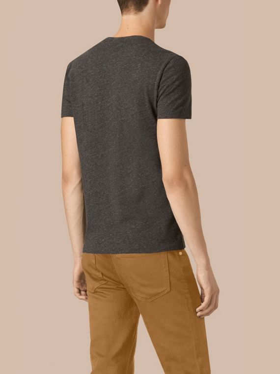 Cotton Jersey T-shirt in Dark Grey Melange - Men | Burberry - cell image 2