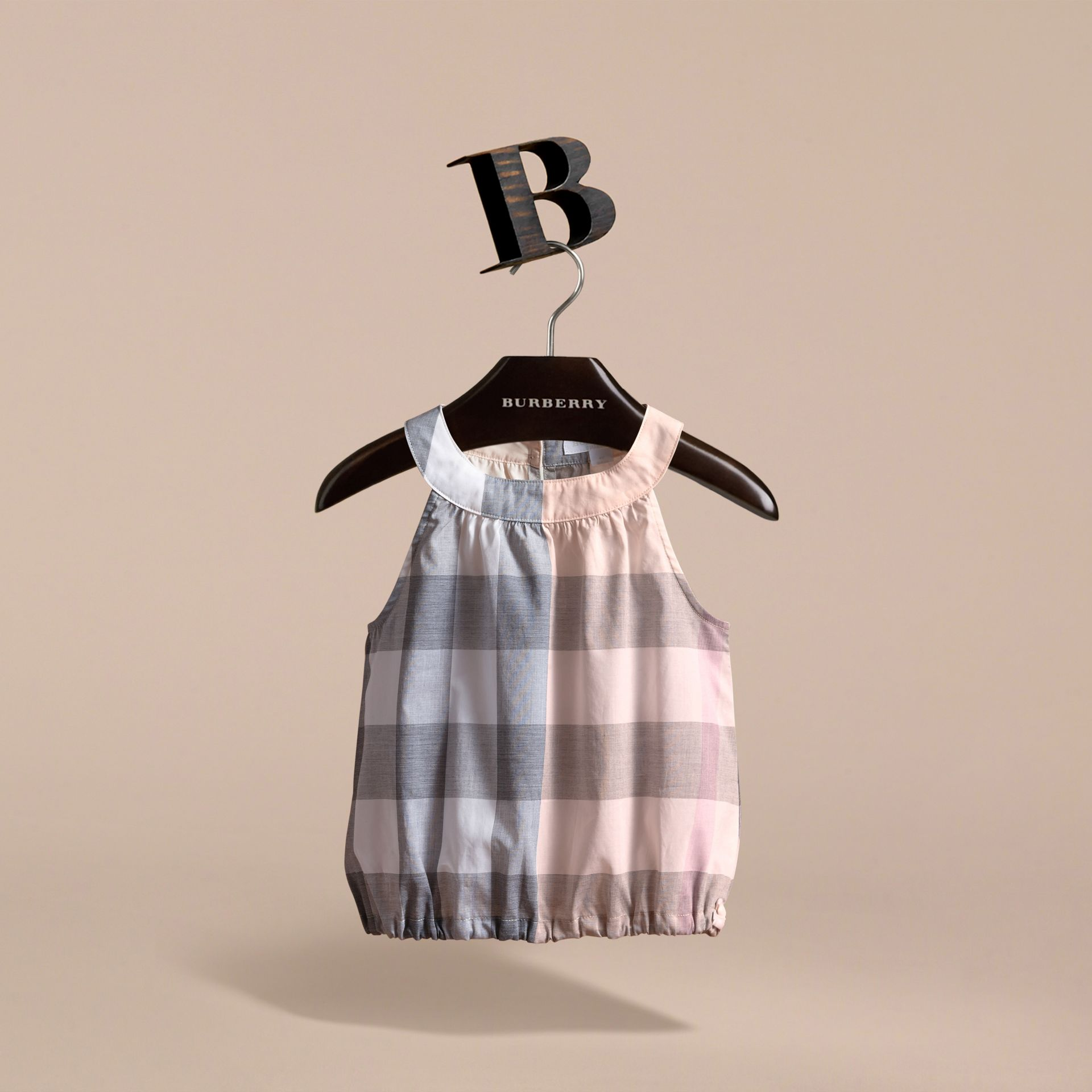 Gathered Check Cotton Top in Apricot - Girl | Burberry - gallery image 3