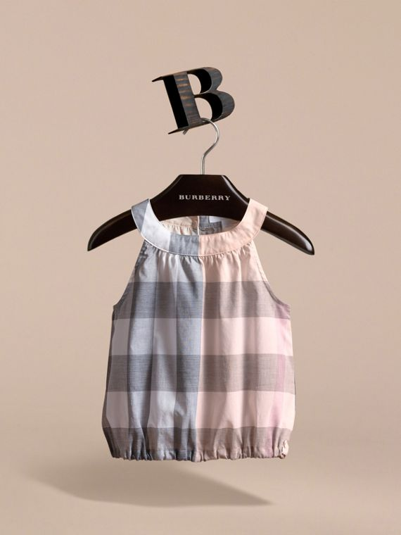 Gathered Check Cotton Top in Apricot - Girl | Burberry - cell image 2