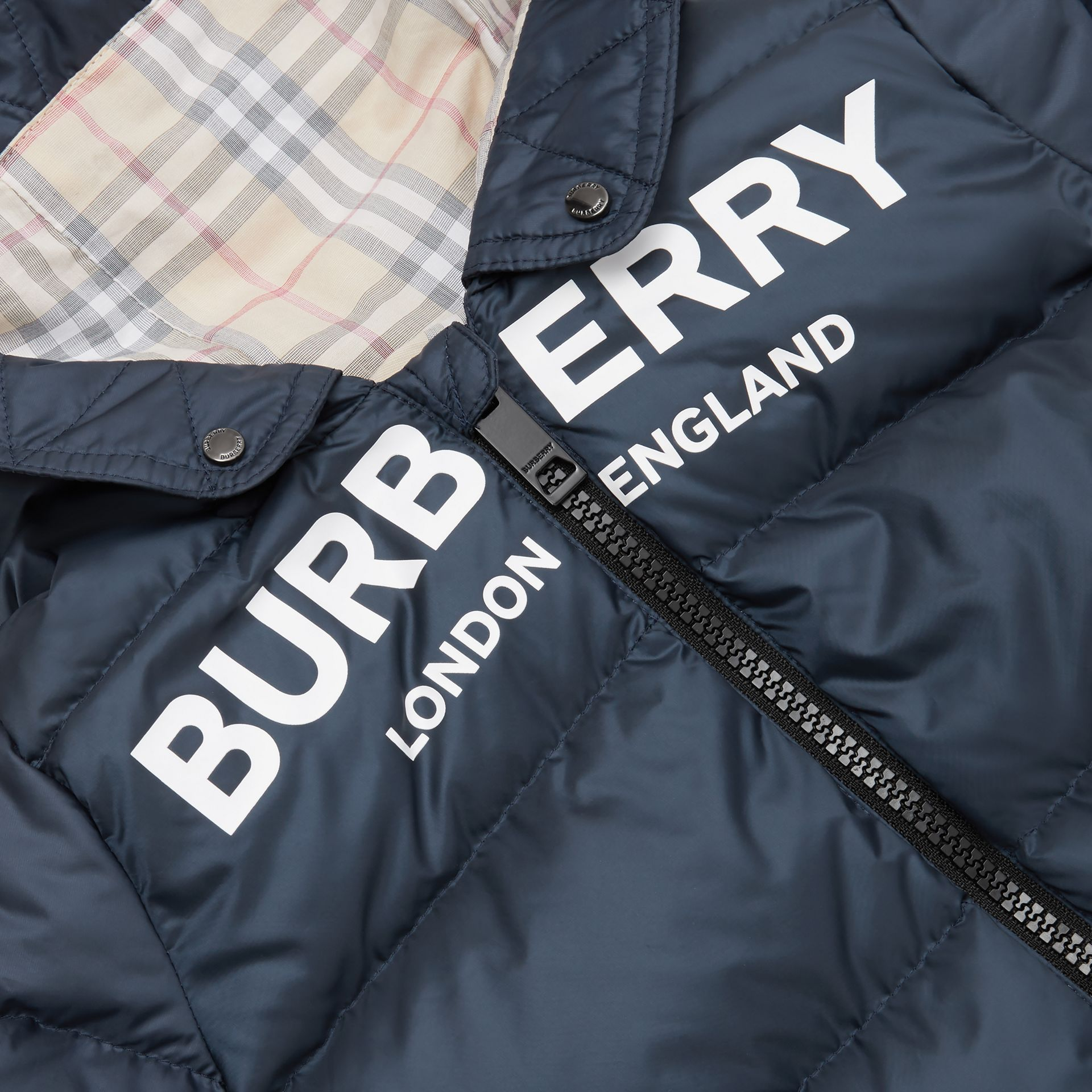 Logo Print Down-filled Puffer Suit in Navy - Children | Burberry United States - gallery image 1