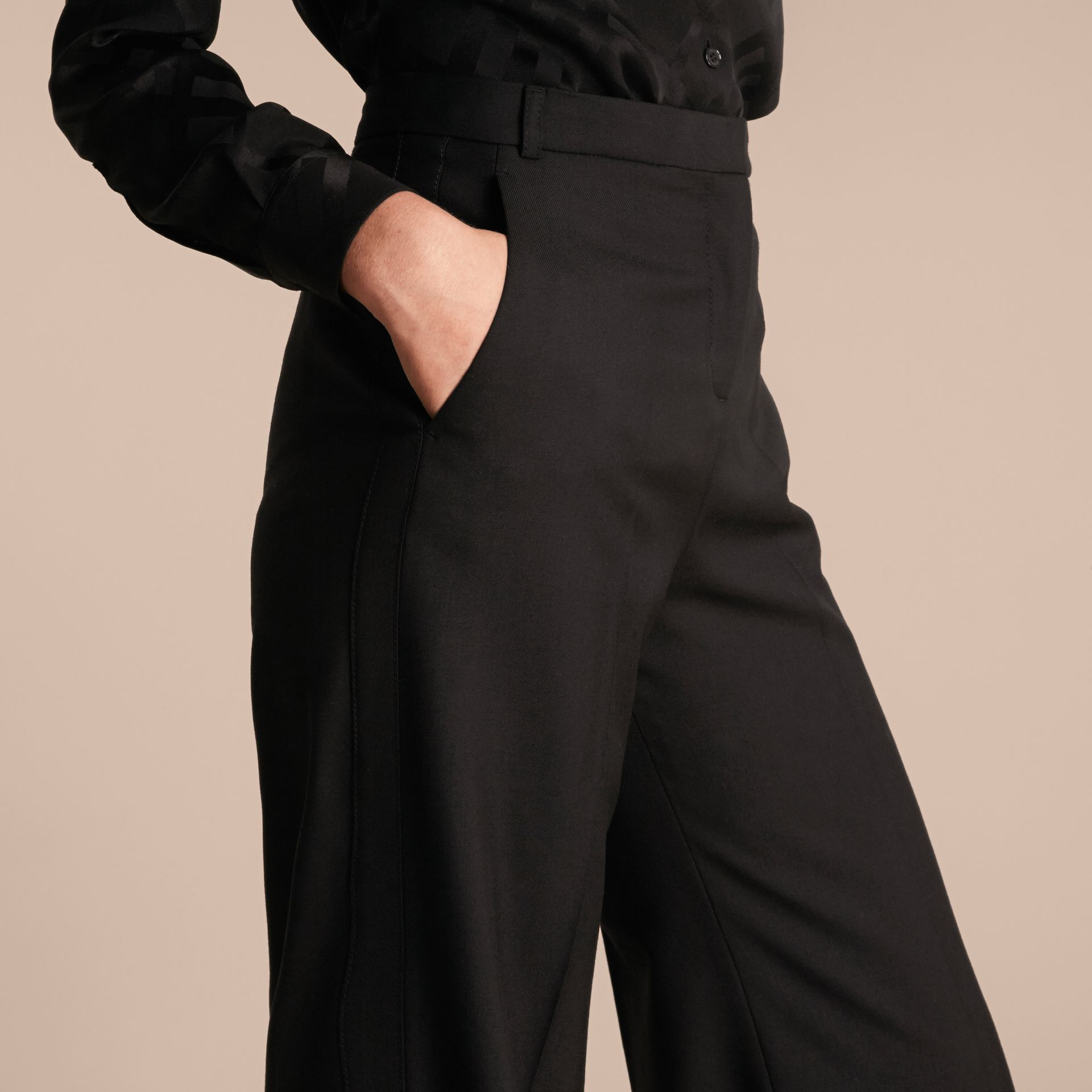 Black Wide-leg Wool Trousers - gallery image 5