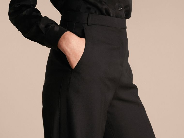 Black Wide-leg Wool Trousers - cell image 4