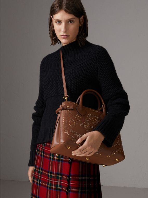 The Banner media in pelle con rivetti (Marroncino) - Donna | Burberry - cell image 3