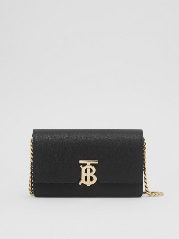Bolsa de ombro em couro granulado - Pequena (Preto)