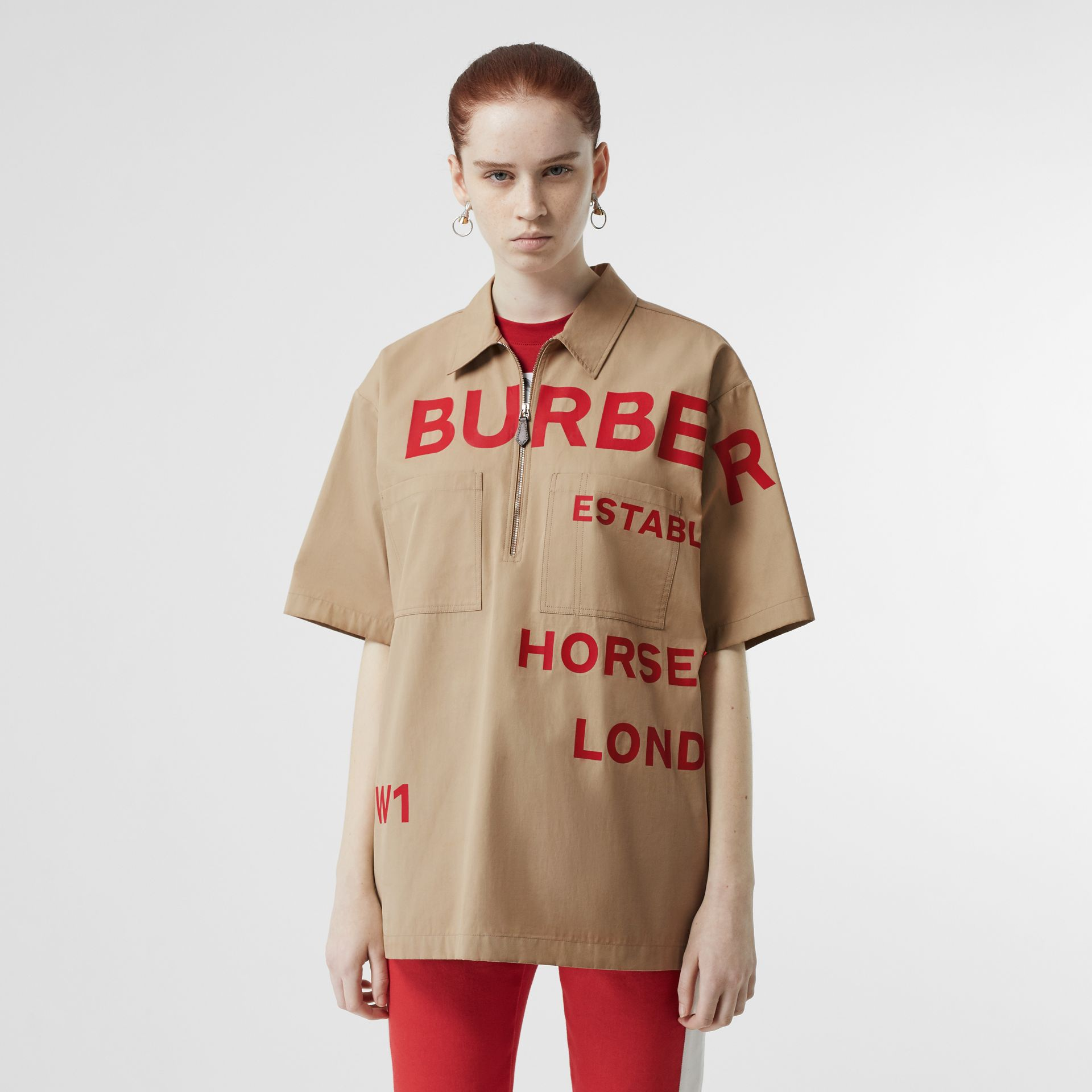 Short-sleeve Horseferry Print Cotton Oversized Shirt in Honey - Women | Burberry - gallery image 0