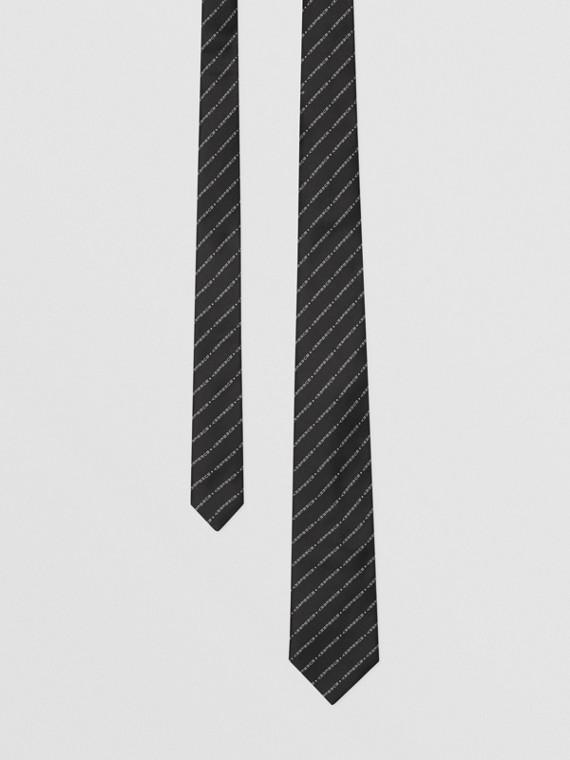 Classic Cut Logo Silk Jacquard Tie in Black