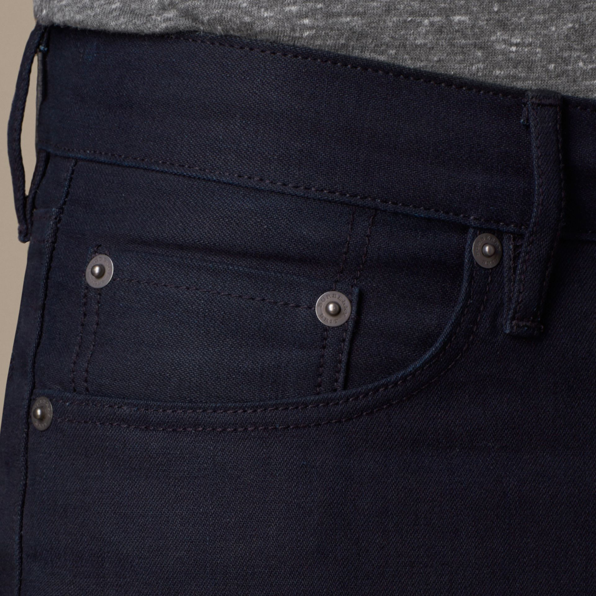 Dark indigo Slim Fit Saturated Selvedge Jeans - gallery image 3