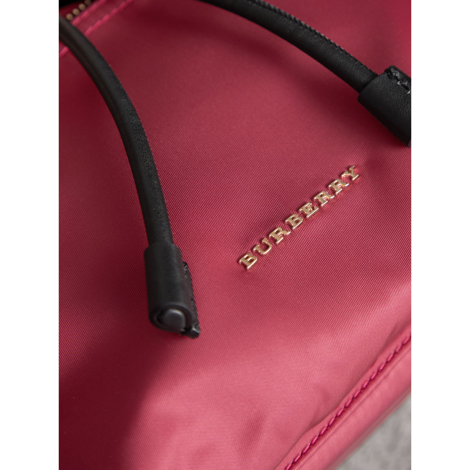The Medium Rucksack in Technical Nylon and Leather in Plum Pink - Women | Burberry - gallery image 7