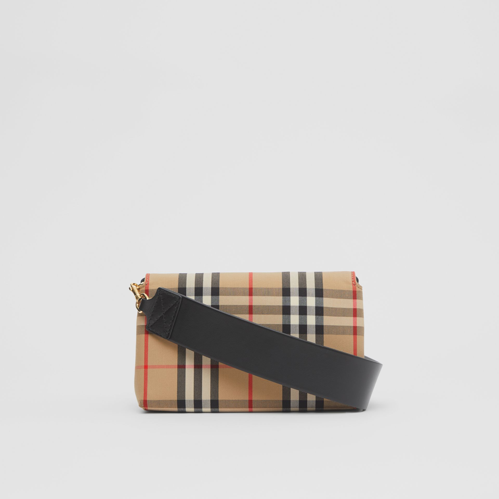 Small Vintage Check and Leather Crossbody Bag in Archive Beige - Women | Burberry - gallery image 7