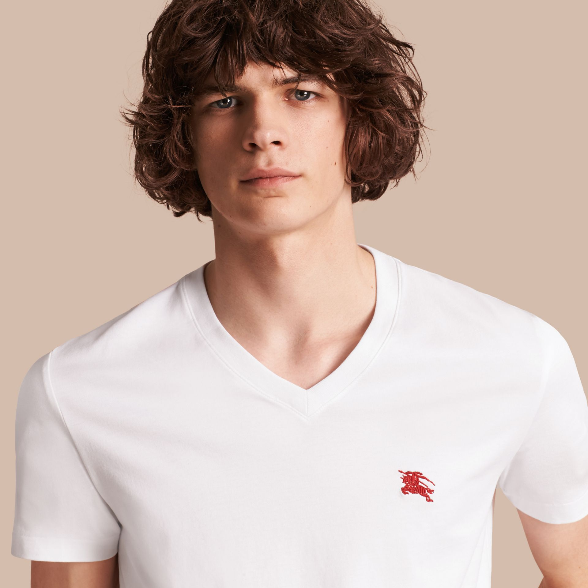 Cotton V-neck T-shirt in Optic White - Men | Burberry Singapore - gallery image 1