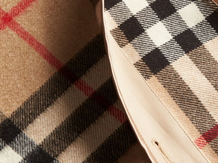 Kensington Fit House Check Cashmere Wool Warmer in Camel - Women | Burberry - cell image 1