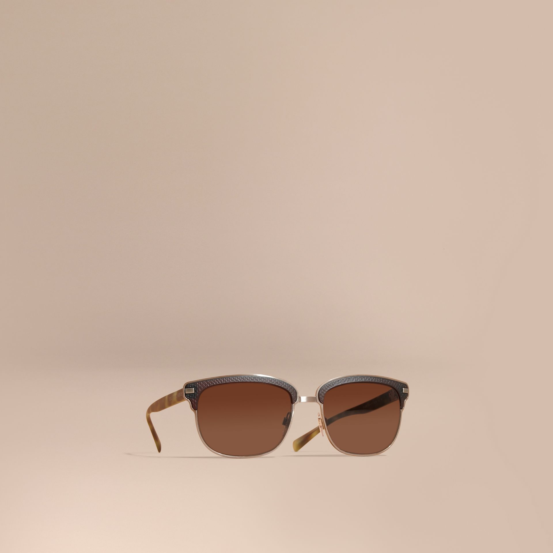 Textured Front Square Frame Sunglasses in Brown - Men | Burberry Hong Kong - gallery image 1