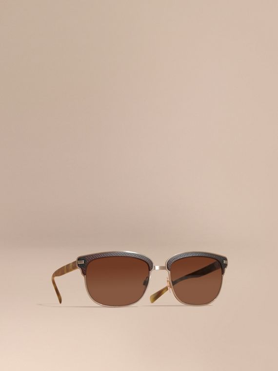 Textured Front Square Frame Sunglasses in Brown - Men | Burberry Singapore