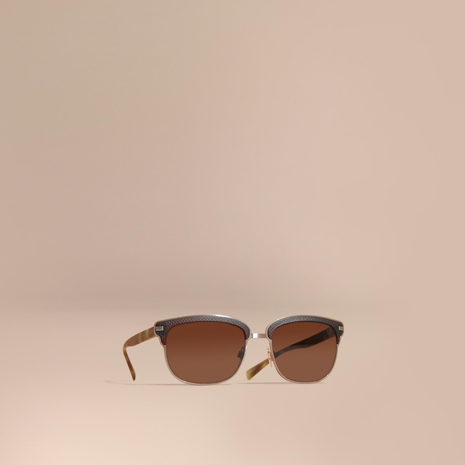 Burberry Glasses Frames Australia : Textured Front Square Frame Sunglasses in Brown - Men ...