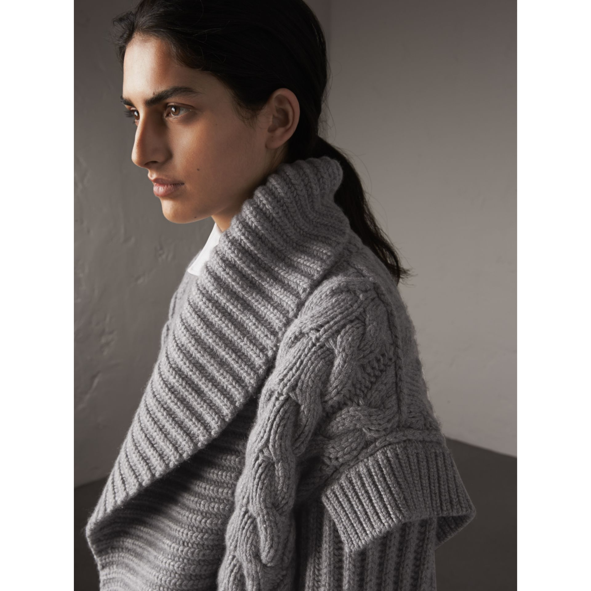 Cable Knit Cashmere Asymmetric Cardigan in Grey Melange - Women | Burberry - gallery image 2