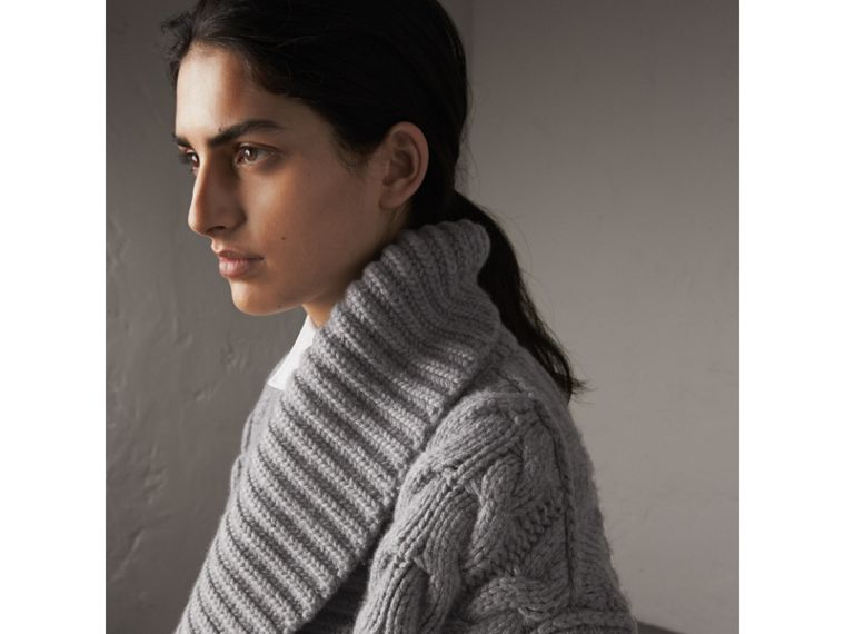 Cable Knit Cashmere Asymmetric Cardigan in Grey Melange - Women | Burberry - cell image 1