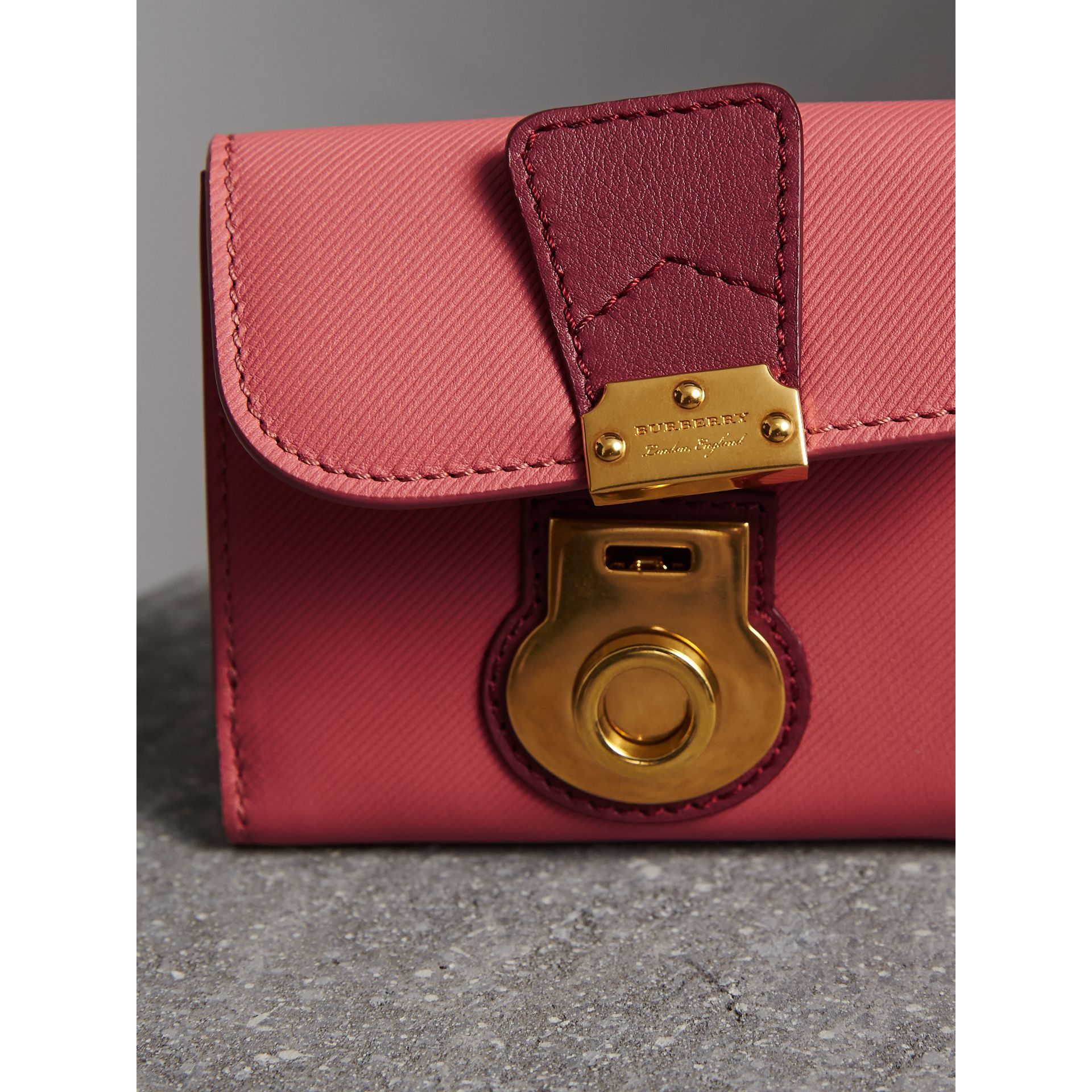 Two-tone Trench Leather Wallet in Blossom Pink/ Antique Red - Women | Burberry Canada - gallery image 1