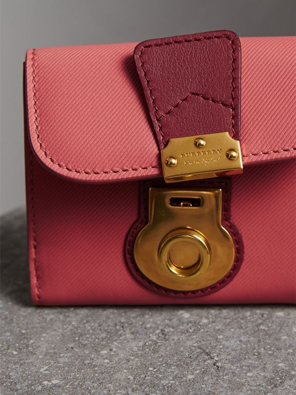 Two-tone Trench Leather Wallet in Blossom Pink/ Antique Red - Women | Burberry - cell image 1