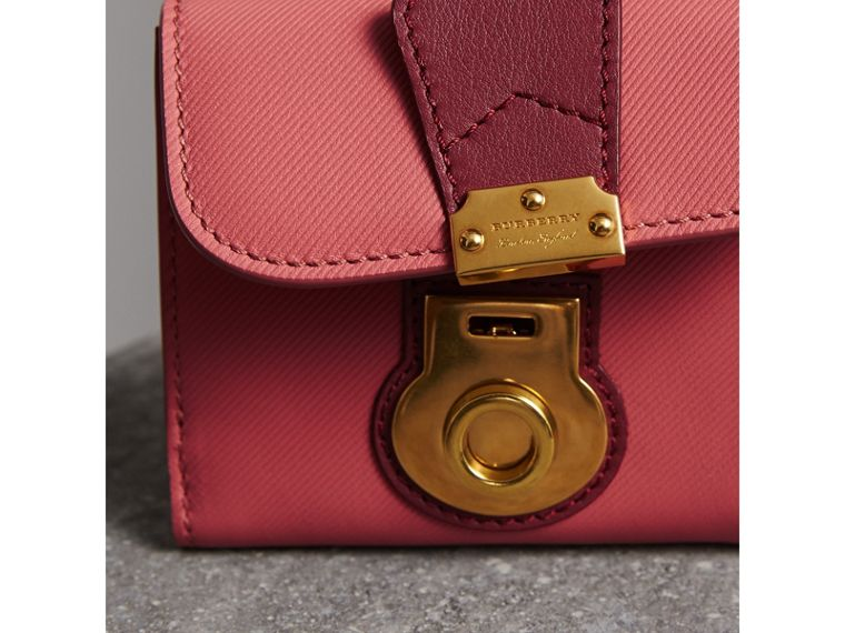 Two-tone Trench Leather Wallet in Blossom Pink/ Antique Red - Women | Burberry Canada - cell image 1