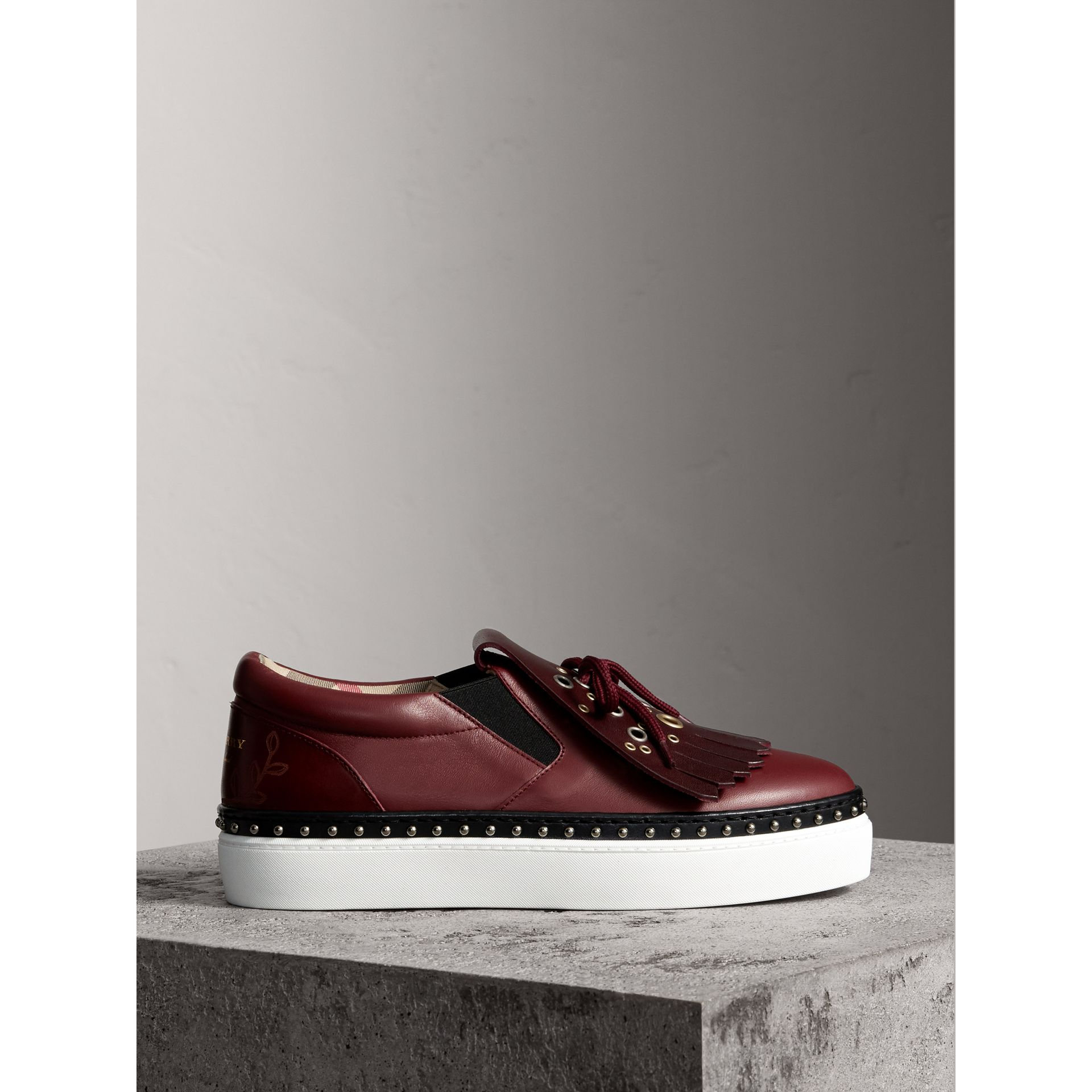 Kiltie Fringe Leather Trainers in Cerise Purple - Women | Burberry United States - gallery image 4
