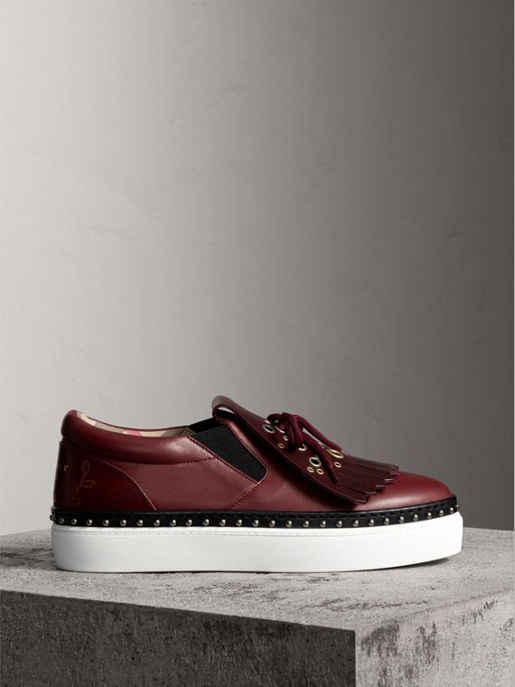Kiltie Fringe Leather Trainers in Cerise Purple - Women | Burberry United Kingdom - cell image 3