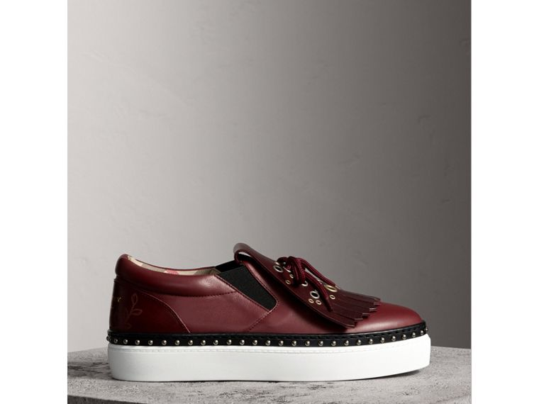 Kiltie Fringe Leather Sneakers in Cerise Purple - Women | Burberry Canada - cell image 4