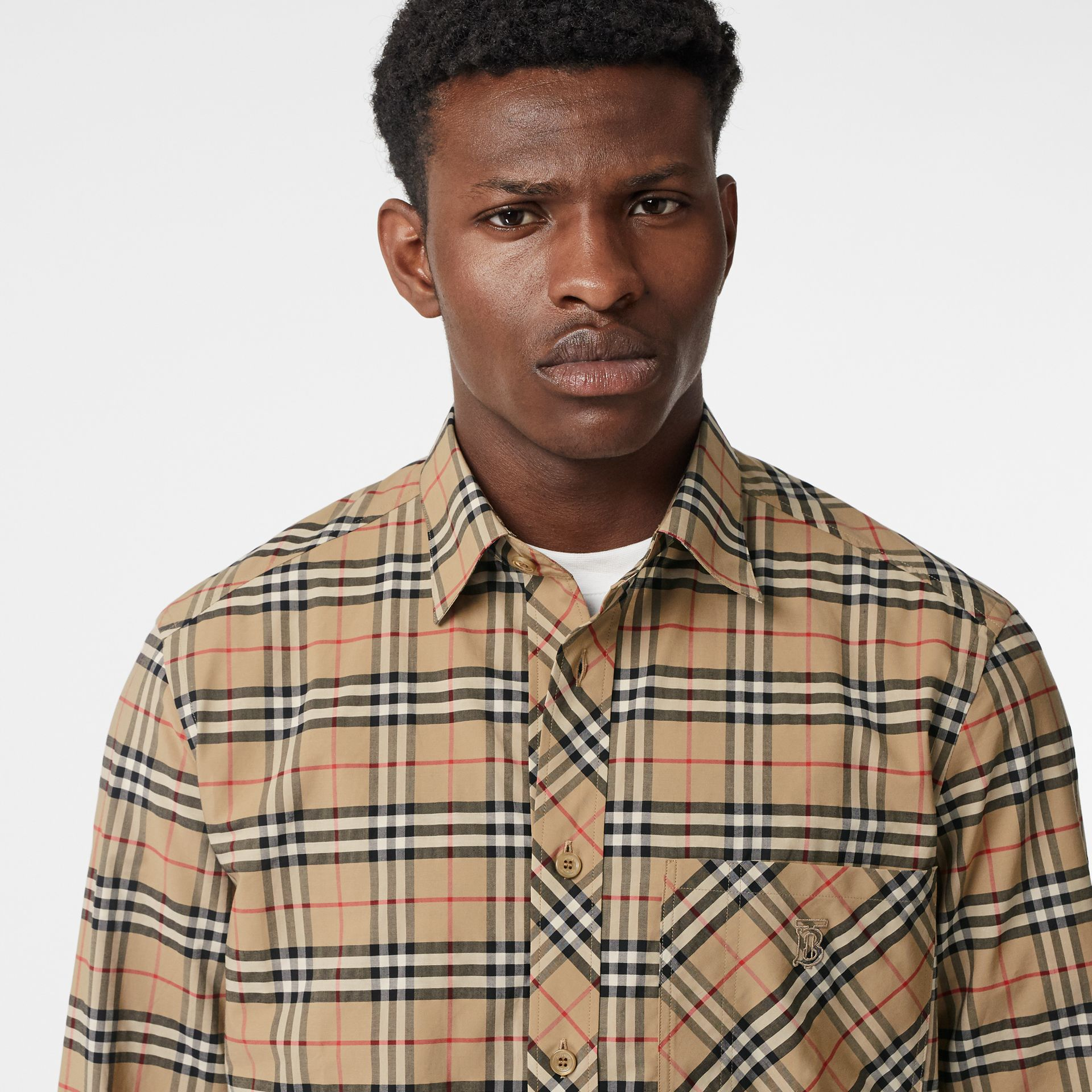 Small Scale Check Stretch Cotton Shirt in Archive Beige - Men | Burberry Australia - gallery image 1