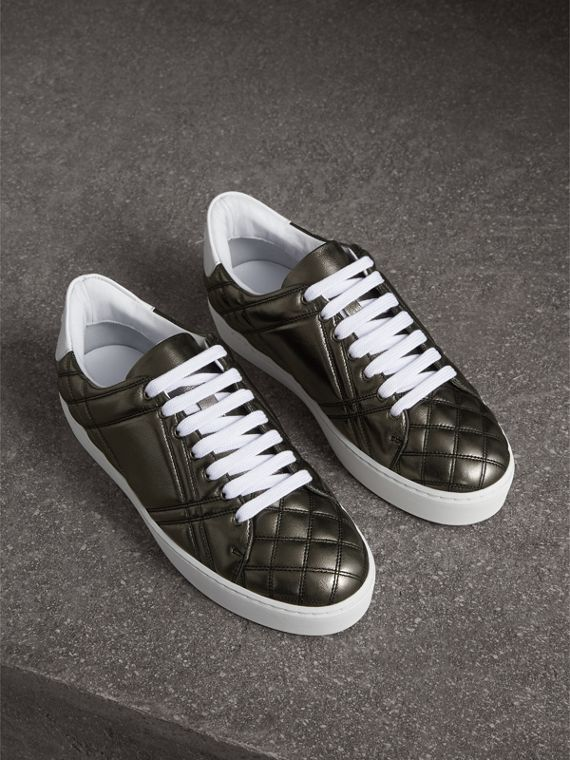 Metallic Check-quilted Leather Trainers in Dark Nickel