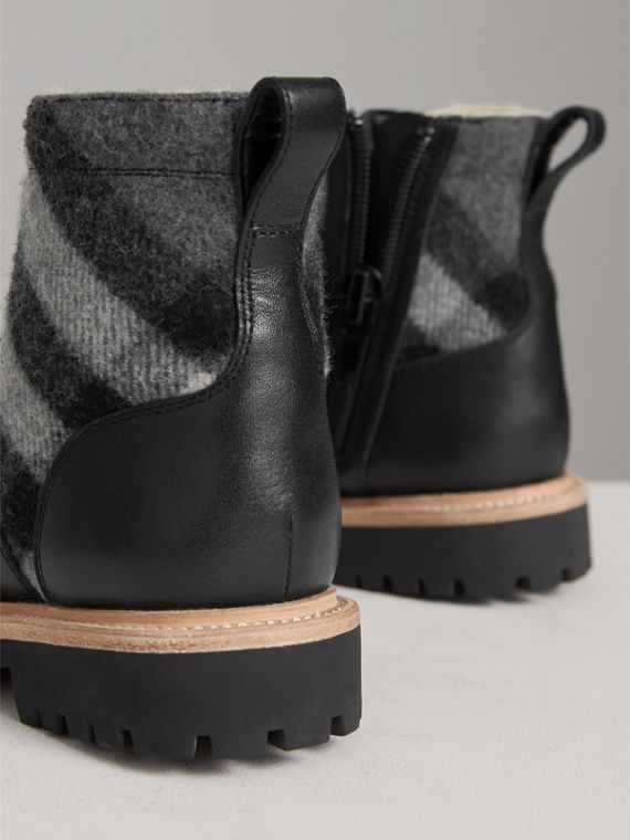 Shearling-lined Leather and Check Wool Boots in Mid Grey | Burberry - cell image 2