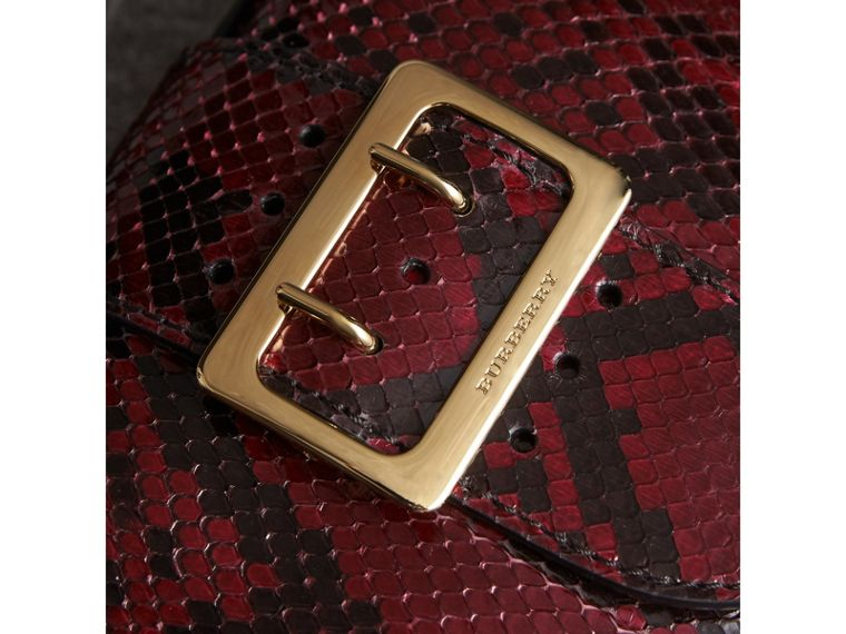 The Small Buckle Crossbody Bag in Python in Burgundy Red - Women | Burberry - cell image 1