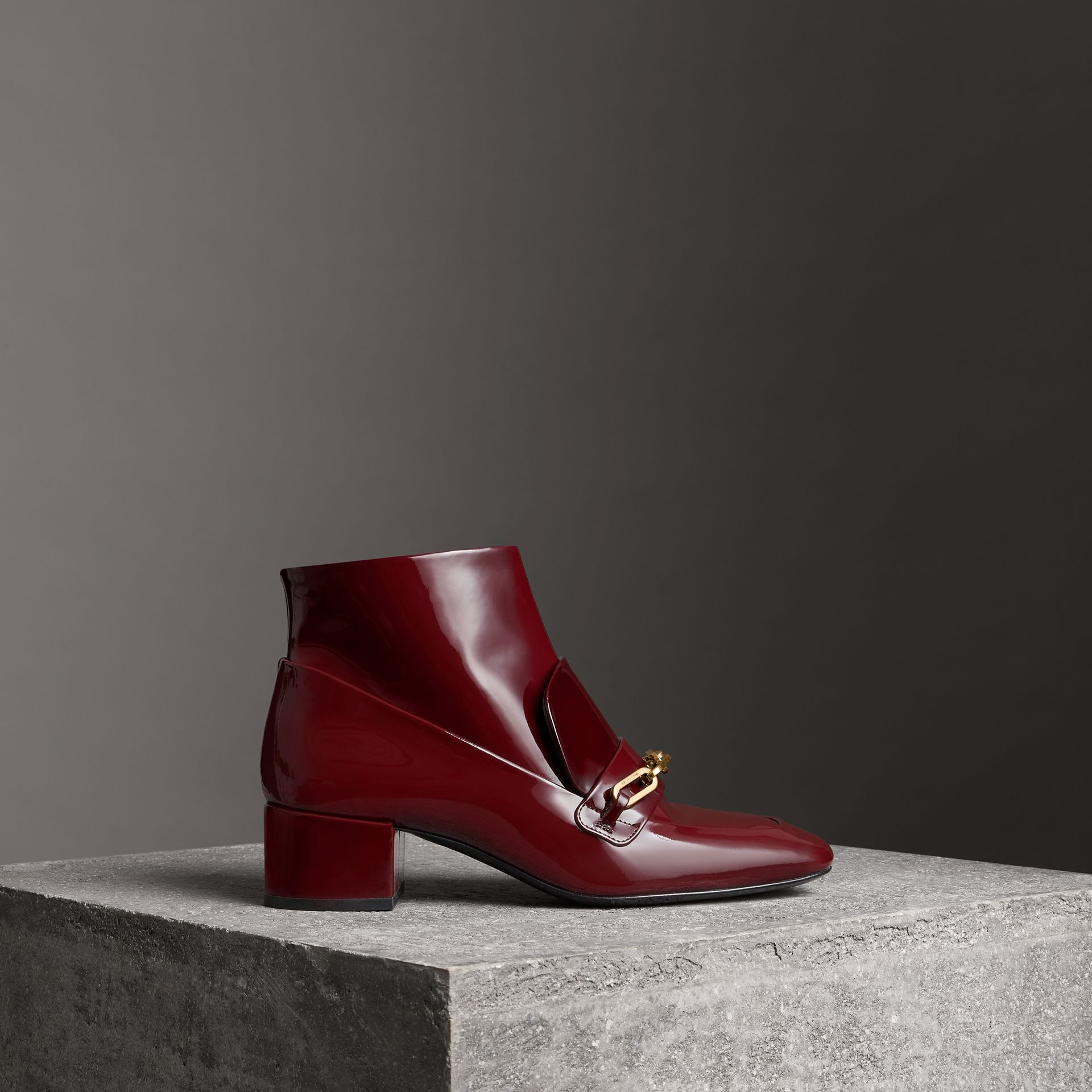 Link Detail Patent Leather Ankle Boots in Burgundy Red - Women | Burberry - gallery image 0