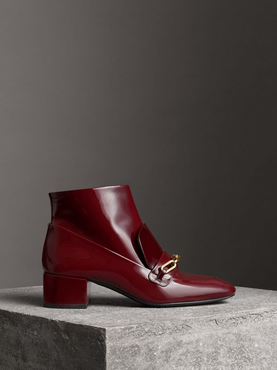 Link Detail Patent Leather Ankle Boots in Burgundy Red