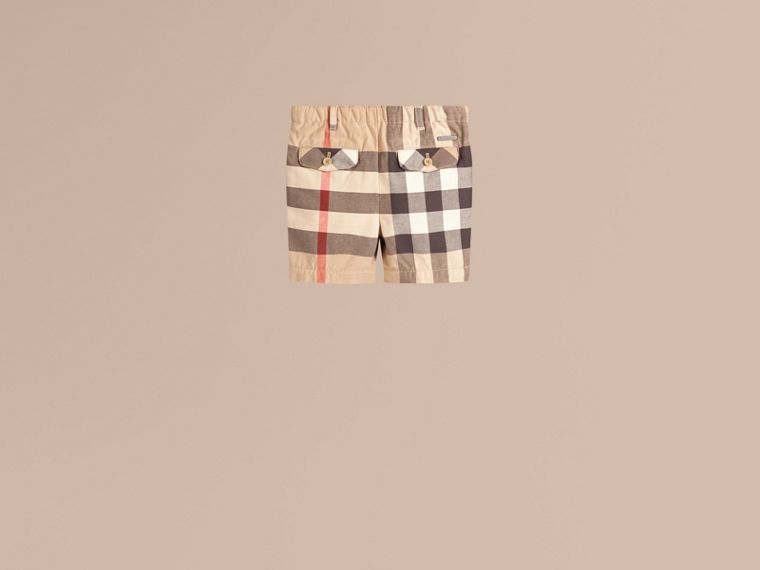 Check Cotton Chino Shorts. - cell image 1