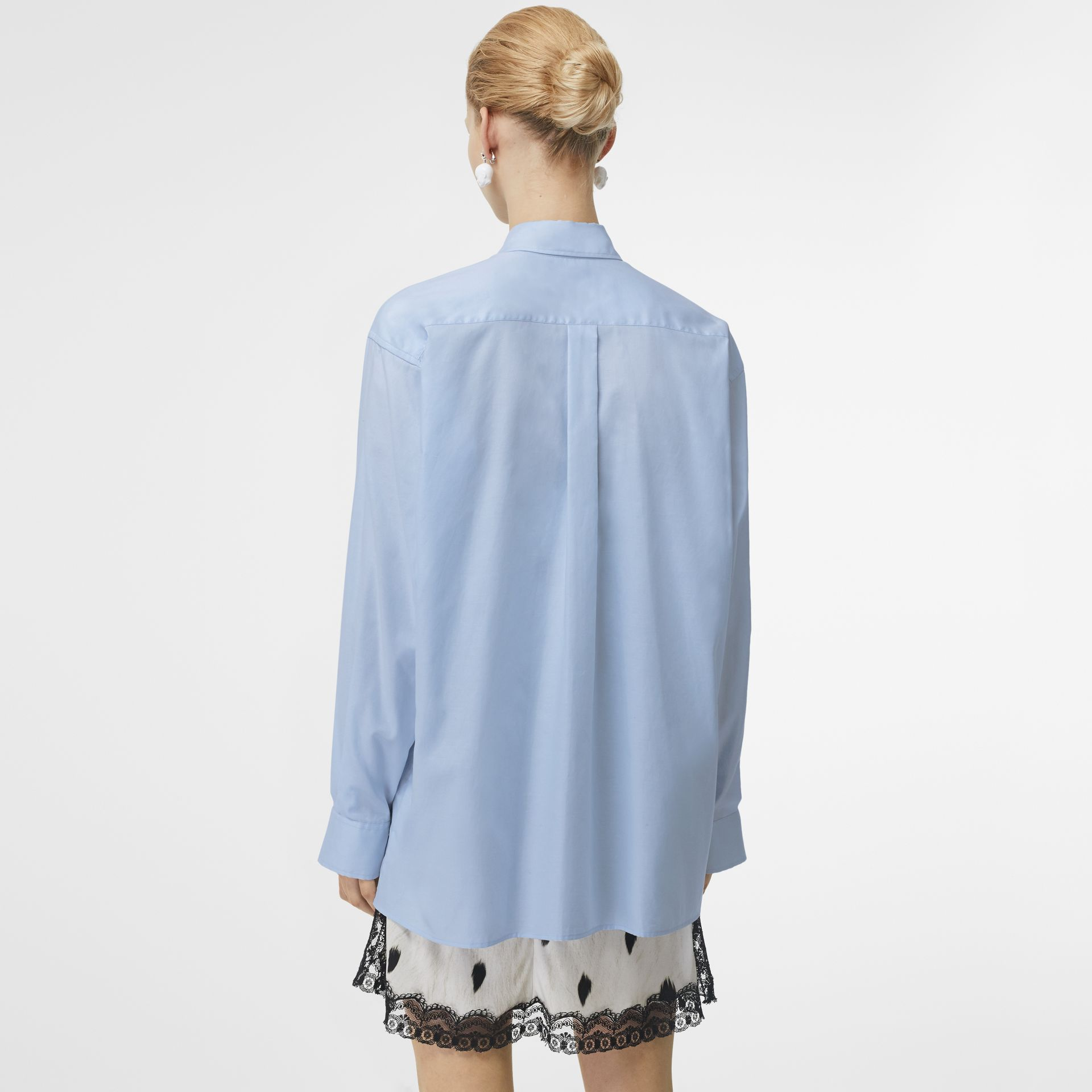 Press-stud Collar Montage Print Oversized Shirt in Pale Blue - Women | Burberry Hong Kong S.A.R - gallery image 2