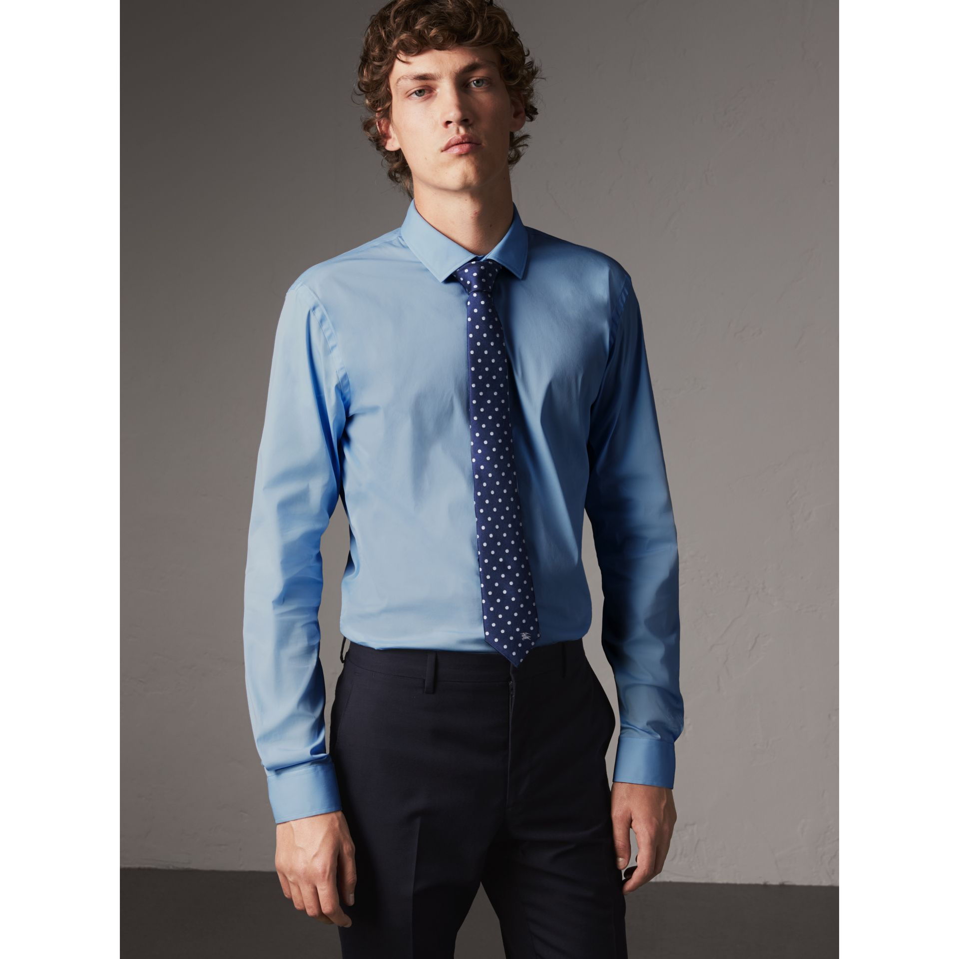 Slim Fit Stretch Cotton Poplin Shirt in City Blue - Men | Burberry - gallery image 0