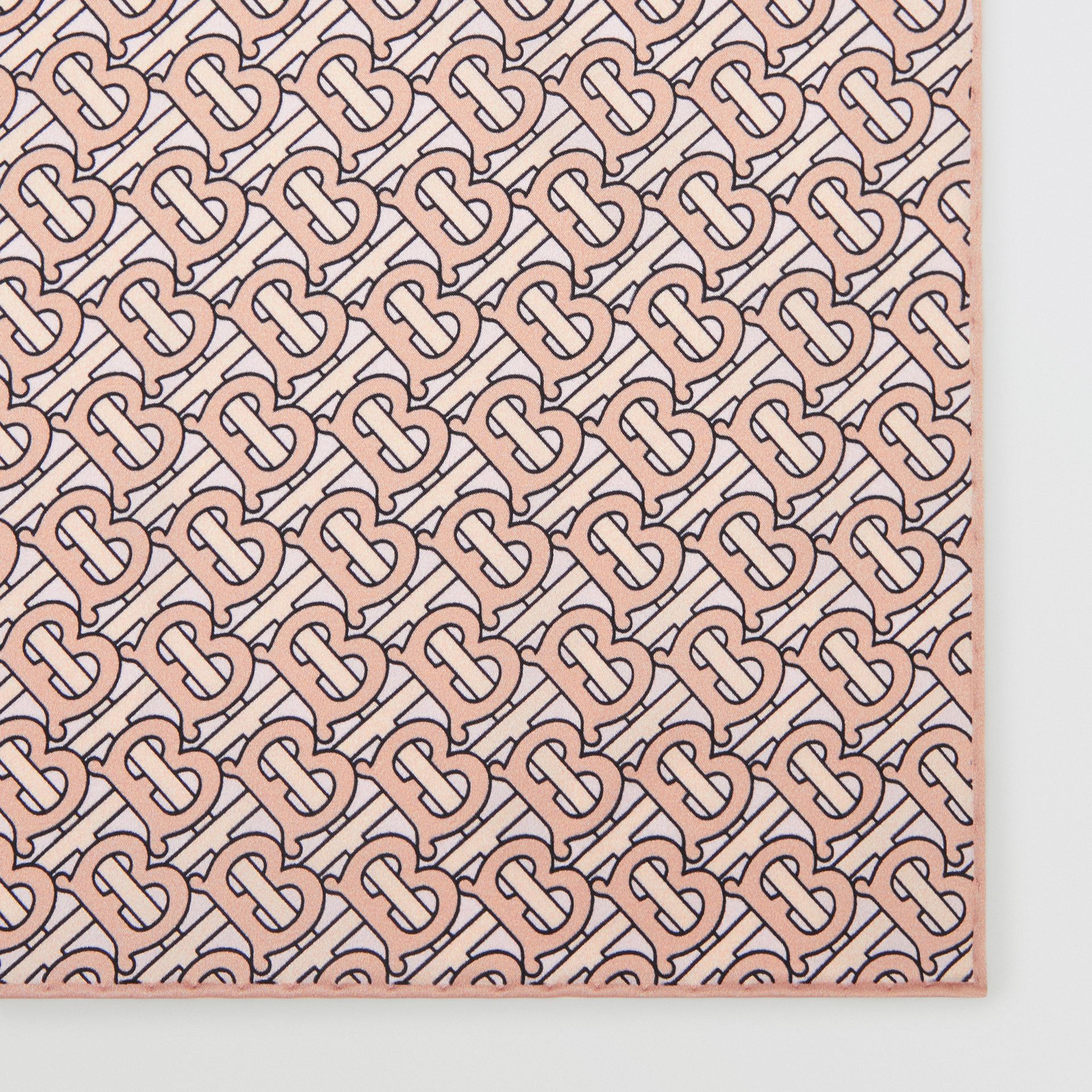 Monogram Print Silk Satin Pocket Square in Copper Pink - Men | Burberry Australia - gallery image 1