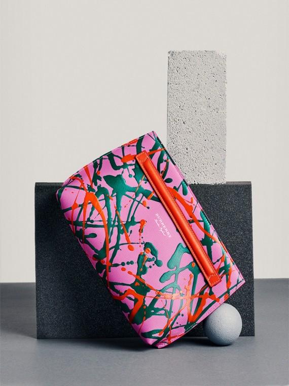 Pochette en cuir trench à imprimé Splash (Rose Pink/rouge Orangé)