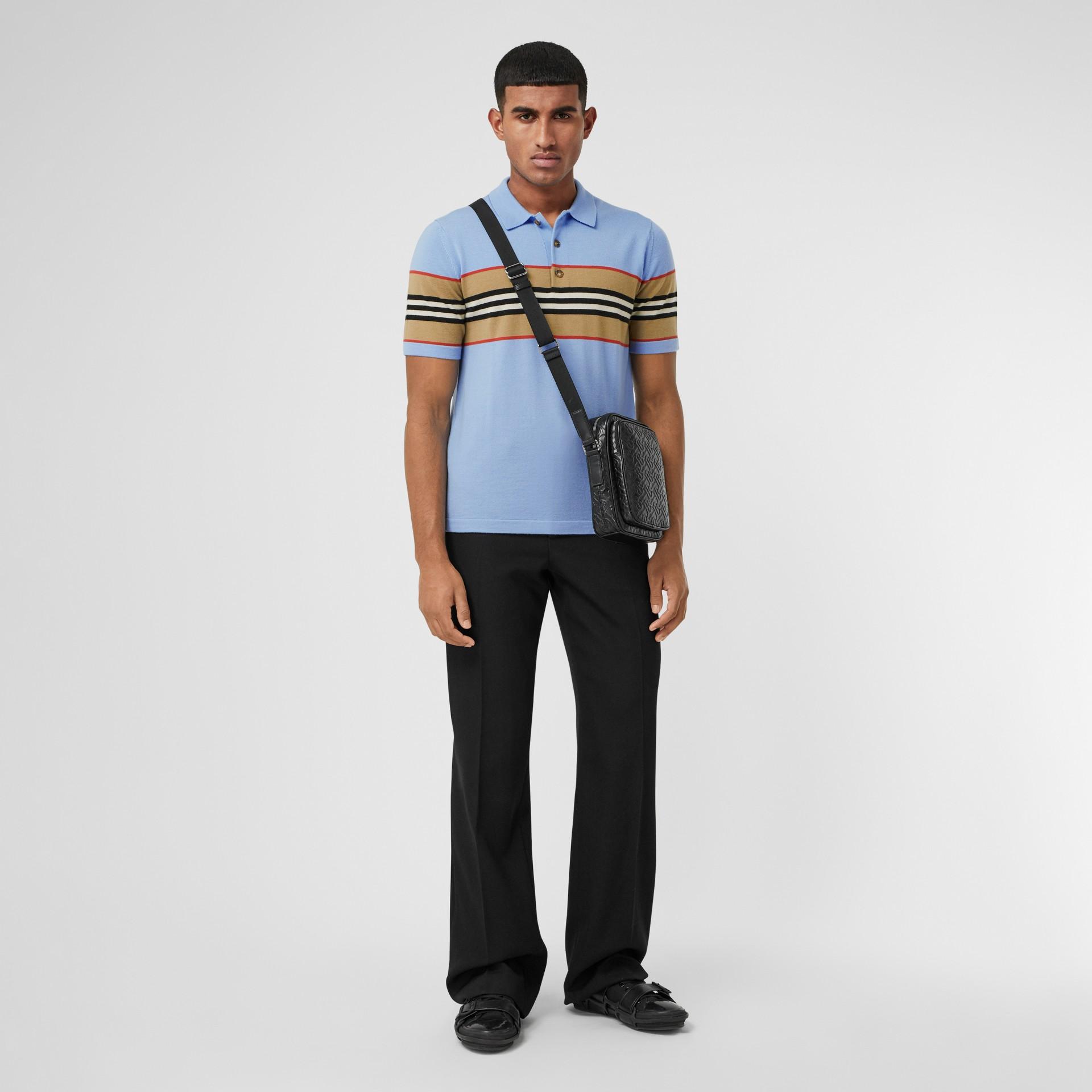 Icon Stripe Detail Merino Wool Polo Shirt in Pale Blue - Men | Burberry United Kingdom - gallery image 4