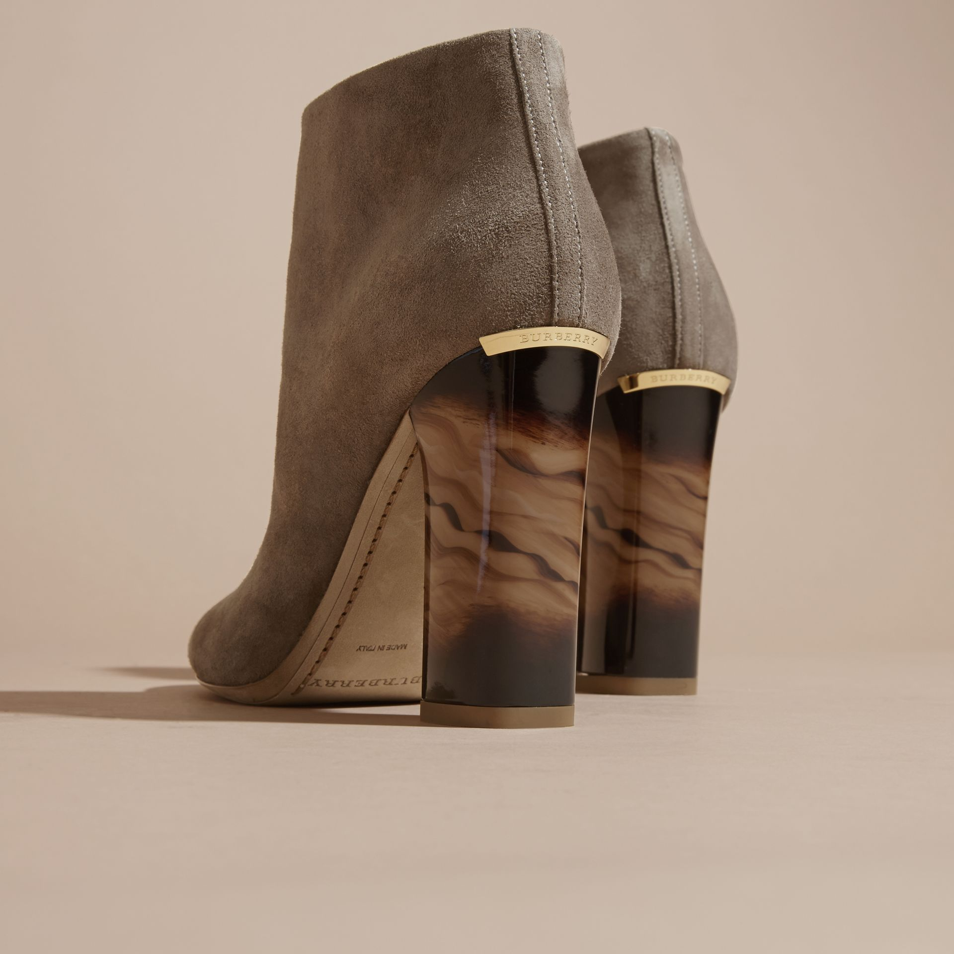 Dark heather melange Suede Ankle Boots - gallery image 4