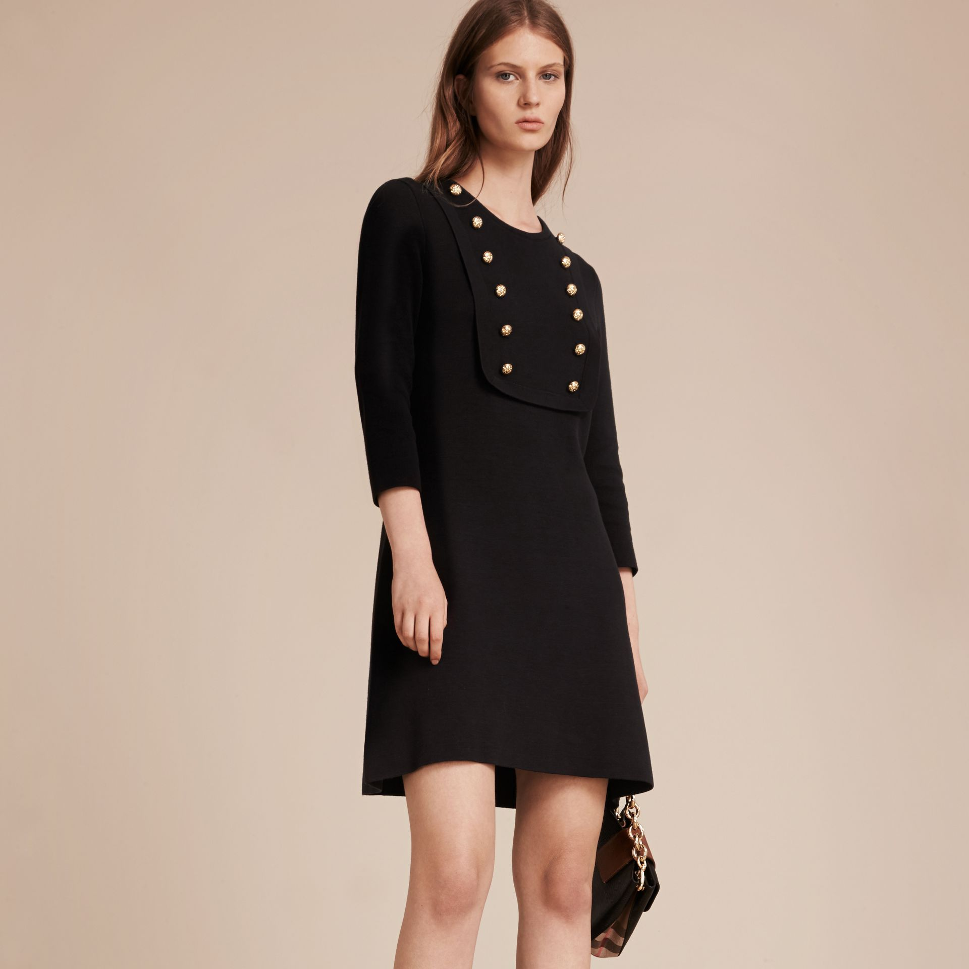 Black Stretch Silk-cotton Knitted Military Dress - gallery image 6