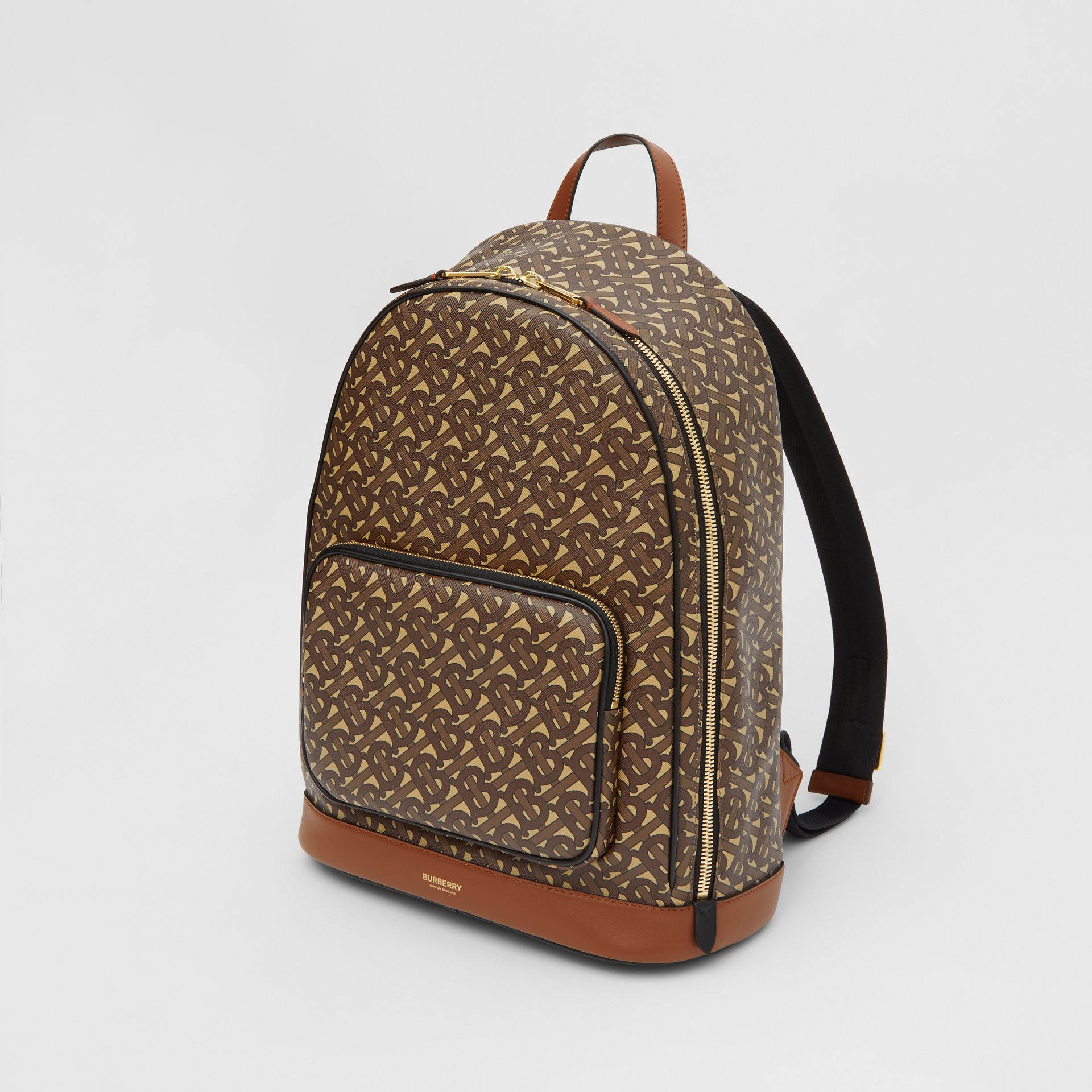 Monogram Print E-canvas and Leather Backpack in Bridle Brown - Men | Burberry United Kingdom - gallery image 4